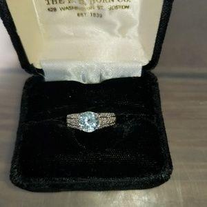 .925 Sterling 2.04 CTW Blue Topaz & Diamond Ring